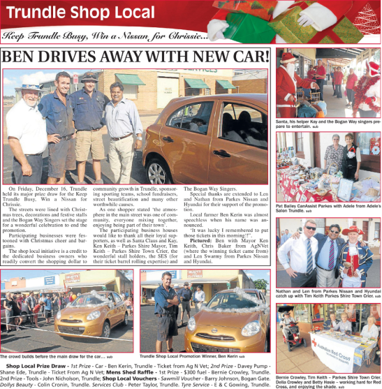 The Census measures population but not initiative and determination! Trundle community have been creative in their ways to promote their town, support local businesses and attract new residents. Source: Parkes Champion Post Friday December 23, 2011 page 16