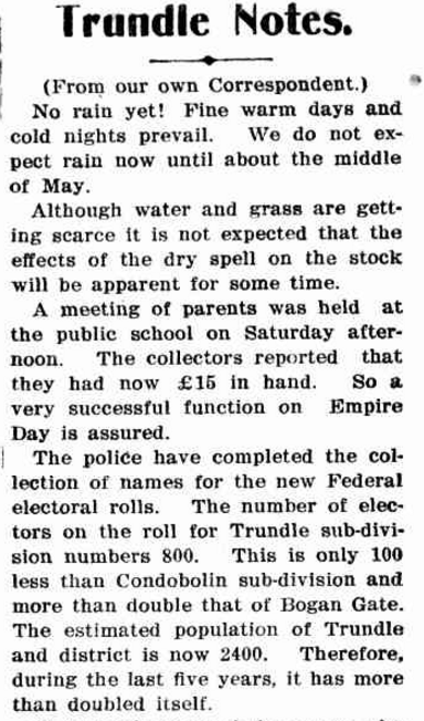 Trundle experiences growth! Source: Western Champion Friday May 3 1912 page 16