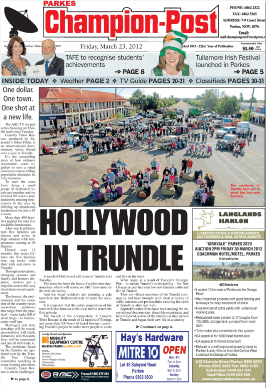 Trundle on the front page! The initiative and collaboration of the Trundle community to reverse dwindling population figures. Source: Parkes Champion Post Friday March 23, 2012 page 1