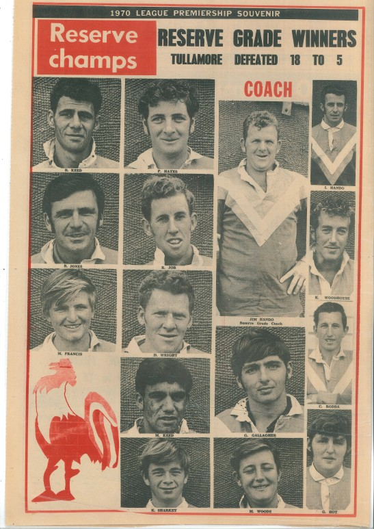 The second page of the special souvenir edition of the local newspaper features the victorious Reserve Grade team of Peak Hill Roosters. Source: Peak Hill & District Time Friday 18th September 1970 page 2