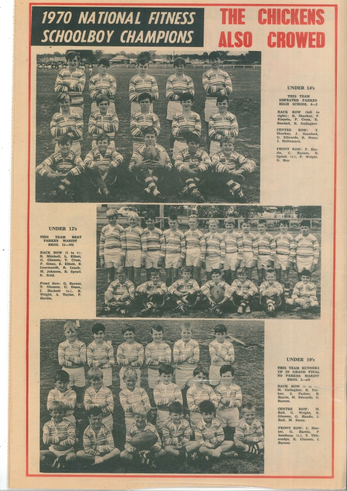 Peak Hill schoolboys also triumphed with Under 14s and Under 12s winning their grand finals against Parkes High School and Parkes Marist Bros respectively. The Under 10s were runners up to Parkes Marist Bros. Source: Peak Hill & District Times Friday 18th September 1970 page 4