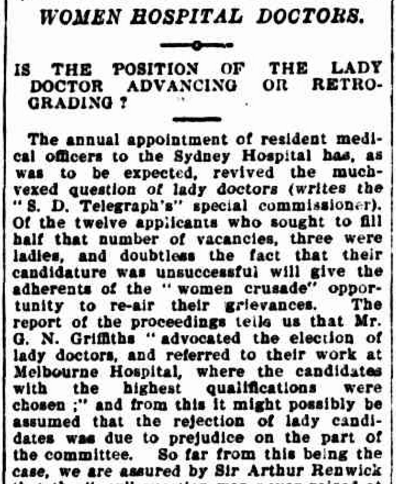 "Extract of an article in The Brisbane Courier where Dr Dagmar Berne advocates for Australia following Britain's lead in establishing ""women doctors in women's hospitals for women patients"" Source: The Brisbane Courier Wednesday 5 January 1898 page 2 To view the article in its entirety click here"