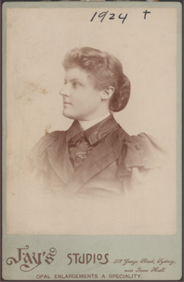 Dagmar Berne circa 1890. The photograph is by Fay's Studios and contributed by State Records NSW. Source: Dictionary of Sydney website