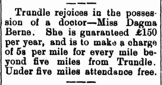 Dr Berne's appointment created a lot of positivity for the people of Trundle. Source: Western Champion, Friday February 2nd 1900, page 8