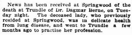 Report of Dr Dagmar Berne's death. Source: Evening News Friday 24 August 1900 page 2