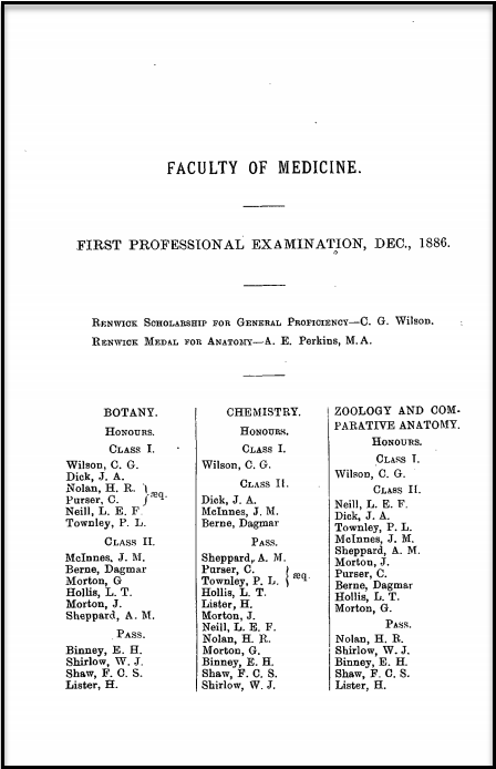As recorded in The Sydney University Calendar 1887 Dagmar Berne achieved Second Class Honours in Botany, Chemistry and Zoology & Comparative Anatomy. Cecil Purser is also listed. Source: The Sydney University Calendar Archive
