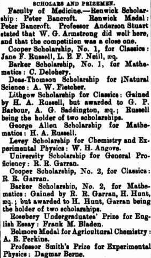 List of Scholars and prizes, with Dagmar Berne (listed at the bottom) being awarded a book for Professor Smith's Prize for Experimental Physics. Source: The Maitland Mercury and Hunter River General Advertiser Thursday 7 May 1885 page 6