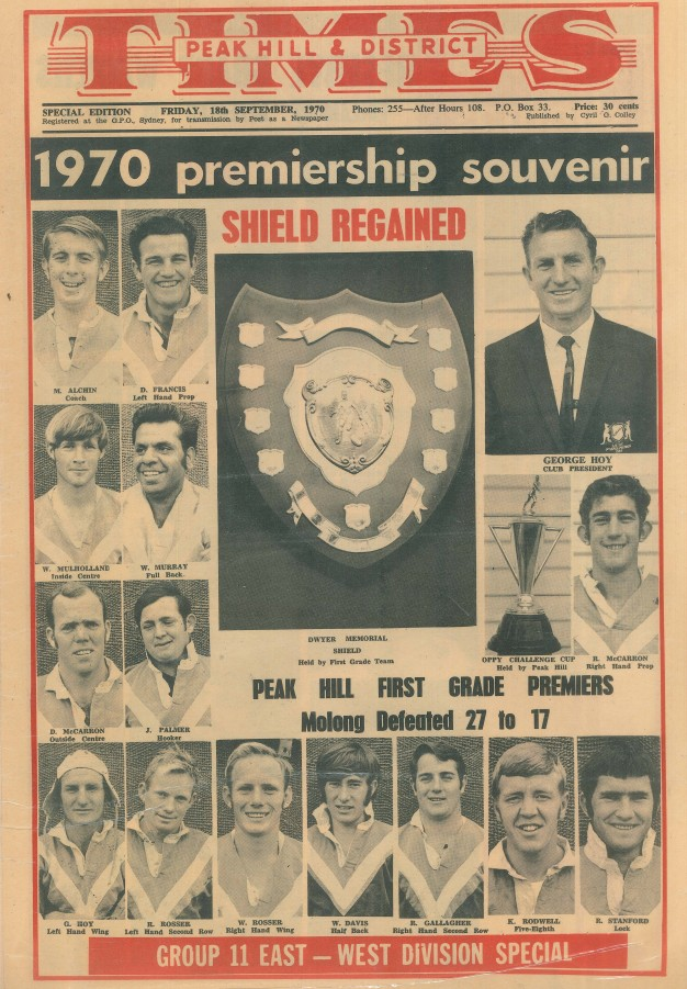 Front page of the special edition Peak Hill & District Times. The souvenir edition was printed to celebrate Peak Hill's success in rugby league in 1970. The front page features photographs of the first grade Roosters team. Source: Peak Hill & District Times Friday 18th September 1970 page 1