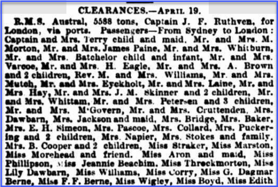 This newspaper article contains the names of Miss G. Dagmar Berne and her sister Miss F.F. Berne, bound for London on board RMS Austral. Source: Sydney Morning Herald Monday 21 April 1890 page 6