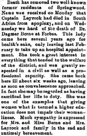 Dagmar's life helped shatter the myth that women couldn't and shouldn't pursue higher education. Source: The Mountaineer Friday 24 August 1900 page 3