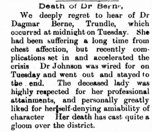 News of Dr Berne's death has cast quite a gloom over the district! Source: Western Champion Friday 24 August 1900 page 11