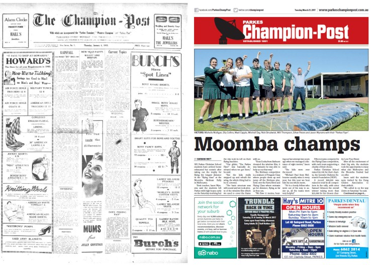 Front page comparison - 1945 and 2017! The name may have changed but this is the same newspaper, 72 years ago and today. Newer technology has allowed for colour print, different fonts and even colour photographs for the 2017 version. 1945's front page packs more words in, partly due to a smaller type size and all images are drawn, not photographs. Source: The Champion Post Thursday January 4, 1945 and Parkes Champion Post Tuesday March 21, 2017