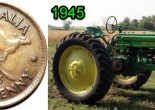 1945 in Parkes - images of the Australian half penny and a 1945John Deere B tractor. Sources: Half penny from TDK Australian Pre-Decimal Coins website and John Deere tractor from Mid-states Antique Tractor Show website