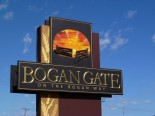 Town sign welcoming all to Bogan Gate. Photograph taken by ksuyin and found on http://www.flickriver.com/places/Australia/New+South+Wales/Bogan+Gate/recent/
