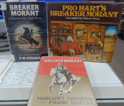 Parkes Library has a number of other books which focus on Breaker Morant. Pictured here are Breaker Morant: A Horseman Who Made History by F.M. Cutlack; Pro Hart's Breaker Morant complied by Dawn Ross and In Search of Breaker Morant: Balladist and Bushveldt Carbineer by Margaret Carnegie and Frank Shields. Photograph by Dan Fredericks (Parkes Library) taken on March 10th 2017