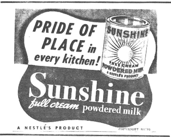 "Recently the dairy industry and supermarkets have been in the news due to reports of a supposed ""milk war"". During wartime, people needed powdered milk to use in cooking, breakfast cereal and in their hot drinks. Produced by Nestlés (which would have been pronounced by the general public as 'nestles' rather than today's 'nes-lay') this provided families with their dairy intake as was still advertised on television in 1960s. Image source: The Champion Post Thursday January 18, 1945 page 6 Information source: Australian food history timeline website"