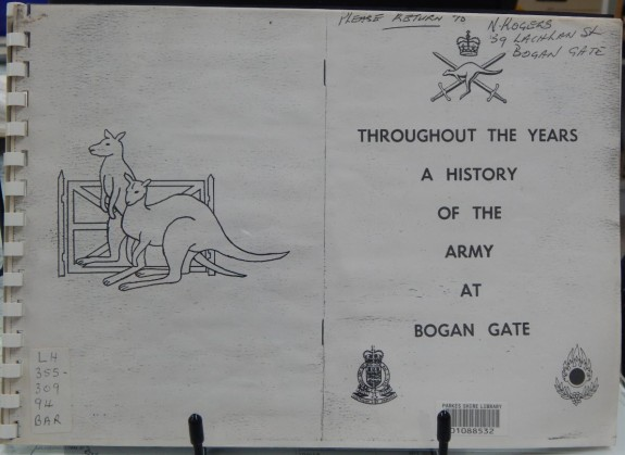 Bogan Gate once was a popular place thanks to the Army Base camp. Throughout The Years: A History of the Army at Bogan Gate tells a little known story of Australian history. This book can be found in the Family & Local History resource room. Photography: Dan Fredericks (Parkes Library) taken on Friday 3rd March 2017