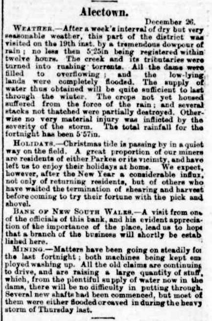 A report of life in Alectown including the mass exodus at Christmas time and some weather information. Source: Australian Town and Country Journal Saturday 4 January 1890 page 13