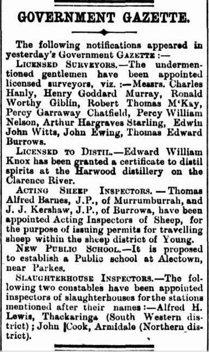 Proposal to establish a public school at Alectown. Source: The Australian Star Saturday 4 January 1890 page 7