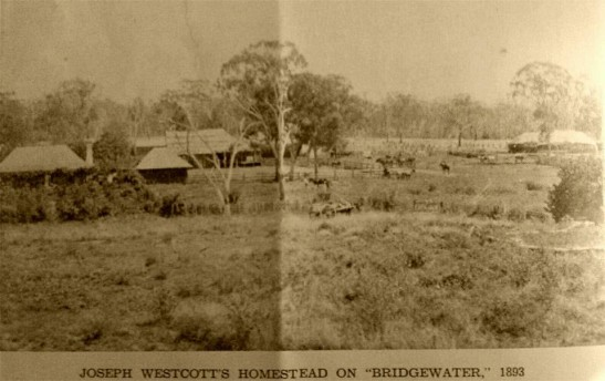 "This photograph appears on the inside front cover of Len Unger's booklet Stories of Alectown - Historical - Humorous - Tragic. This reproduction is courtesy of Neil Westcott. It shows the original ""Bridgewater"" homestead in 1893 with fenced in yard. The original building was burnt down in 1931 and then rebuilt in 1935. Source: Neil Westcott's family collection"