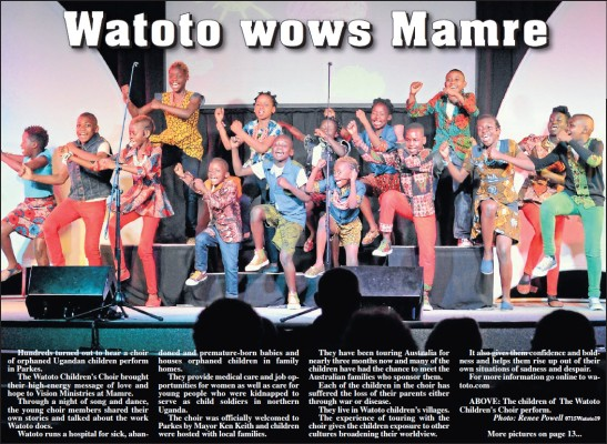 Alectown has hosted international acts such as the Watoto Children's Choir from Uganda. This photograph was taken at their concert at the Bush Cathedral belonging to Vision Ministries' Mamre Farm. Source: Parkes Champion Post Wednesday July 29, 2015 page 5