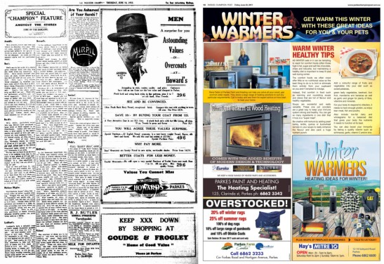 Winter advertisements in 1932 and 2017. On the left is The Western Champion's Special Champion Feature Amongst The Stores which focuses on some of the bargains Parkes consumers could purchase in 1932. Images are used minimally, with the page full of text. Compare this to a present day advertisement in Parkes Champion Post. Colour images and photographs, less text and less retailers featured but each one given greater space. Sources: The Western Champion Thursday June 16, 1932 page 7 and Parkes Champion Post Friday June 23, 2017 page 10