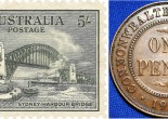 Two images from 1932. On the left, a postage stamp commemorating the opening of the Sydney Harbour Bridge, which was officially opened on March 19, 1932. On the right is an Australian penny made in 1932. Source: Postage stamp from Wikimedia Commons and One penny from TDK Australian Pre-Decimal Coins website