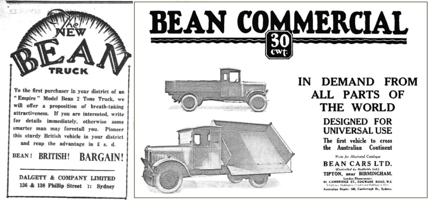 "If Parkes residents wanted the finest in automotives in 1932, they would have bought British! On the left is an advertisement for the new ""Empire"" Model Bean 2 Tons truck. Right is an image of one of the many Bean Commercial vehicles - highlighting it was the first vehicle to cross the Australian continent! Sources: The Western Champion Thursday June 23, 1932 page 10 and An advert from The Times Trade & Engineering Supplement, 25th May, 1929 found on British History website"