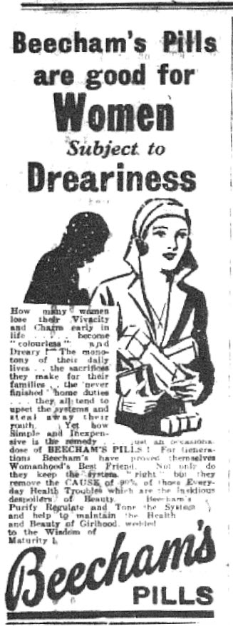 It wasn't always the good old days in 1932! Dreariness was a real problem according to an advertisement of the time! The advertisement for a medicine appeared in The Western Champion June 23, 1932 page 12