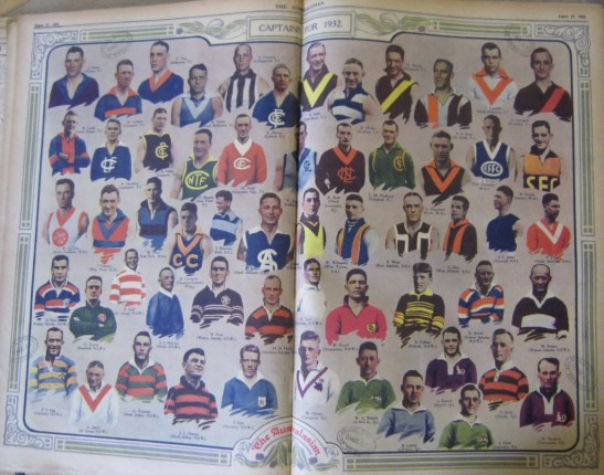 Part of the State Library of Victoria's newspaper collection is this colour pictorial from The Australasian. It includes images of all major football clubs competing in the various codes in 1932. South Sydney (bottom row third from left) would win the NSW Rugby League competition, defeating Western Suburbs 19-12. Richmond (top row fourth from right) were the premiers of Victorian Football League (precursor to the Australian Football League) defeating Carlton 13.14 (92) to 12.11 (83) Source: Boyles Football Photos website