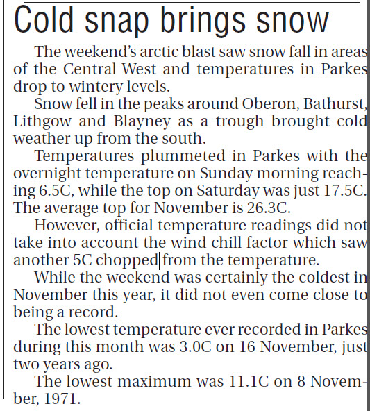Demonstrating that a cold snap in November in Parkes is not a one-off, this newspaper report records cold temperatures for a Central West that is almost farewelling spring for summer. Source: Parkes Champion Post Monday November 24, 2008 page 3