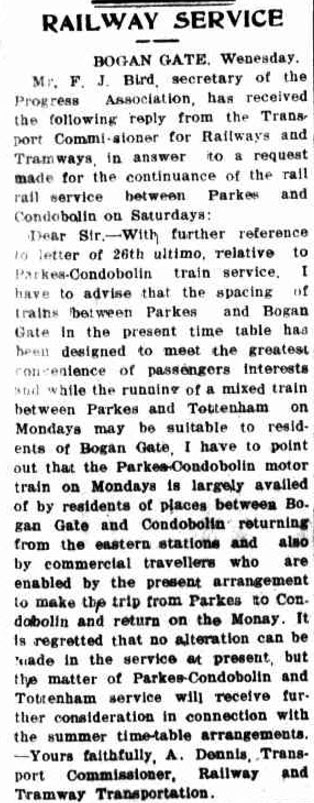 Travel in 1932 was very different to today. Distances seemed further and less people had their own motor vehicles. More people relied on public transport, including the railway. This article highlighted the need for continued railway service especially at Bogan Gate. Source: The Western Champion Thursday June 23, 1932 page 1