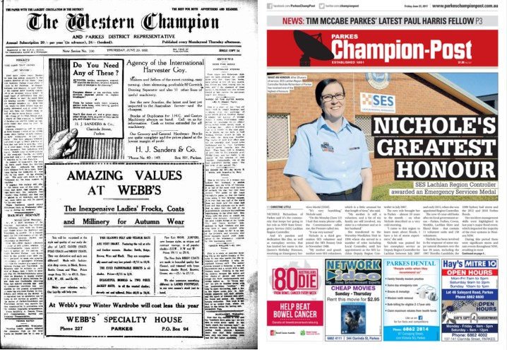 Front page comparison – 1932 and 2017! The name may have changed but this is the same newspaper, 85 years ago and today. Newer technology has allowed for colour print, different fonts and even colour photographs for the 2017 version. 1932's front page packs more words in, partly due to a smaller type size and less advertisements. Source: The Western Champion Thursday June 23, 1932 and Parkes Champion Post Friday June 23, 2017