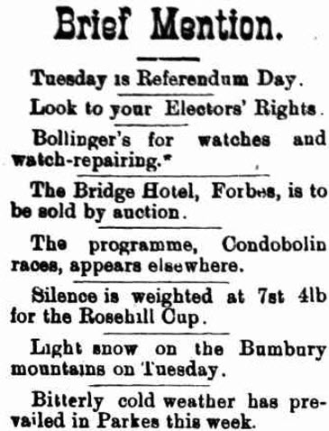 Snow again in Bumberry, this time June 1899. Source: Western Champion Friday 16 June, 1899 Page 8