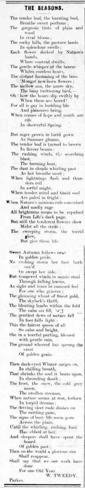 A local poet highlighting the seasons of the Parkes Shire. Source: Western Champion Friday 3 February, 1899 page