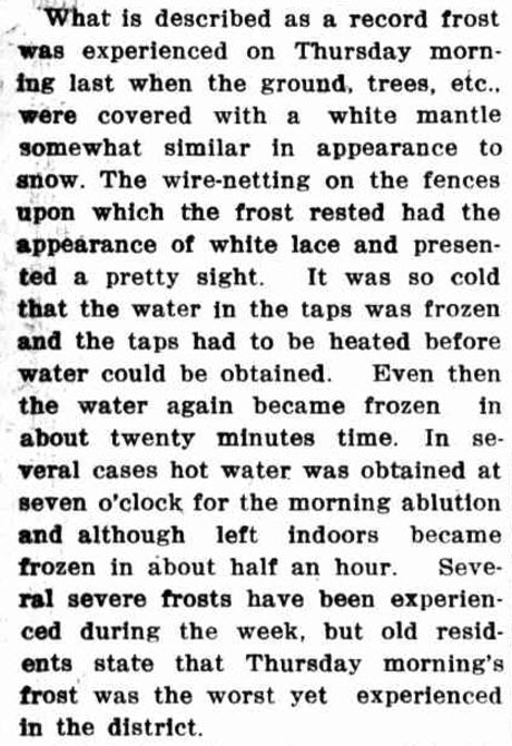 While Tullamore has yet to experience snow, another severe cold snap meant that Tullamore had thick frost which at first glance looked like snow. Source: Western Champion Thursday 25 July 1918 page 24