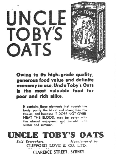 "The style of advertising may have been different, but some products were the same as today! This advertisement for Uncle Toby's Oats highlights ""...definite economy in use..."" - in the midst of The Great Depression consumers were frugal and looking for value. Due to high unemployment leading to poverty may explain the necessity for a line such as ""...the most valuable food for poor and rich alike."" Source: The Western Champion Thursday June 23 1932 page 13"