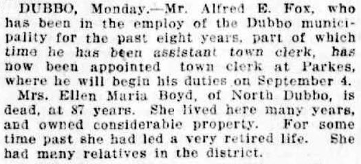 Excerpt from newspaper report on Country News of the appointment of Parkes' new town clerk, Alfred E Fox. Source: The Daily Telegraph Tuesday 22 August 1916 page 6