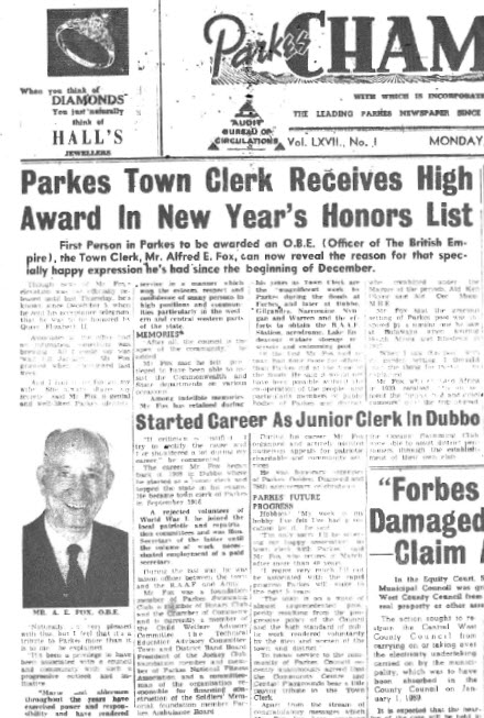 Close up of front page of the local newspaper. Alfred Fox was honoured with an OBE (Officer of the British Empire) becoming the first person in Parkes to receive this award. Source: Parkes Champion Post Monday, January 5, 1959 page 1