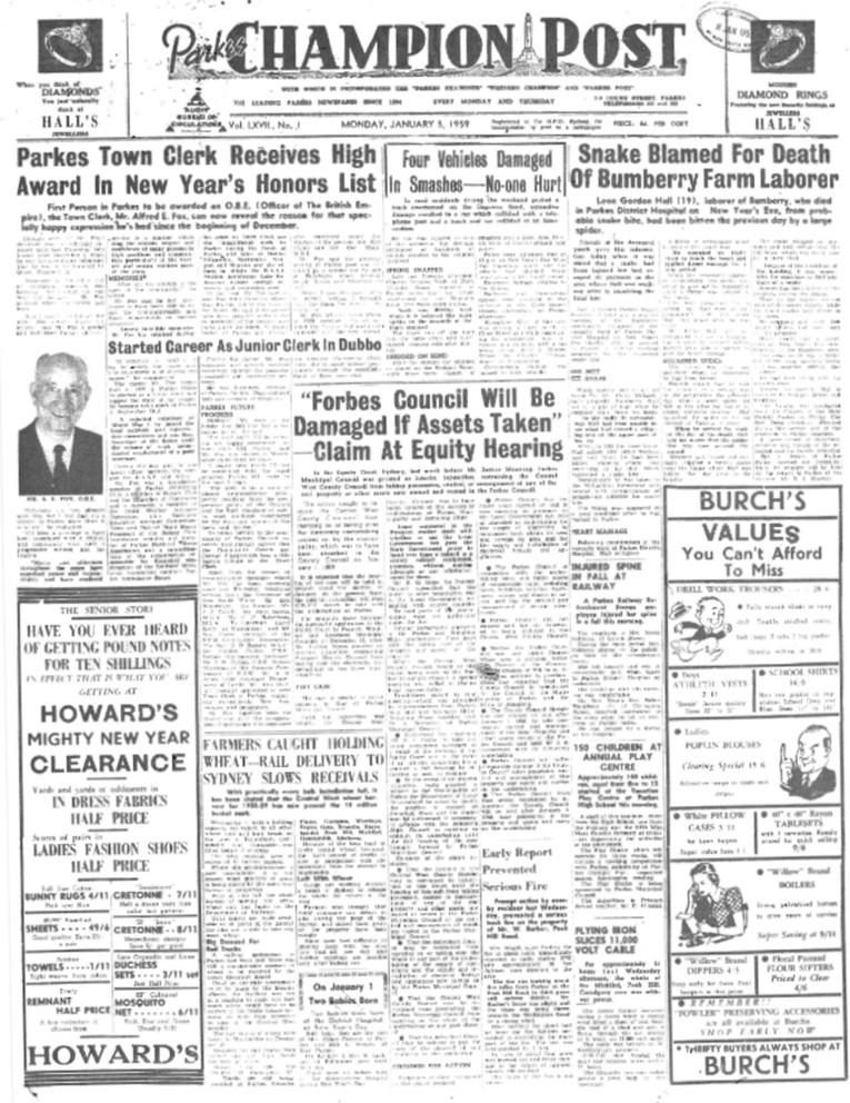Copy of whole front page of the local newspaper reporting Alfred Fox's incredible award. Source: Parkes Champion Post Monday Januayr 5, 1959 page 1