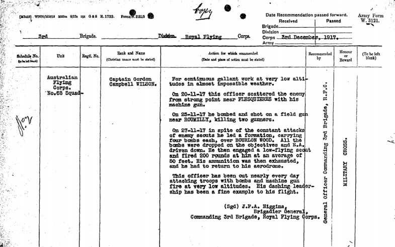 Captain Wilson's recommendation for a Military Cross, highlighting his gallantry and skill as a pilot for the Australian Flying Corps. Source: Australian War Memorial website as found at https://s3-ap-southeast-2.amazonaws.com/awm-media/collection/RCDIG1068780/document/5517112.PDF