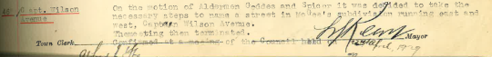Scanned excerpt from Parkes Municipal Council minutes, highlighting that Captain Wilson Avenue would become one of the street names of Parkes. Source: Parkes Municipal Council Meeting Minutes April 12th, 1929