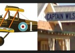 Photograph of Captain Wilson Avenue street sign in Parkes, and DH5 A9449 aircraft that Captain Wilson flew in France during World War 1 Source: Google maps and Wings Palette website