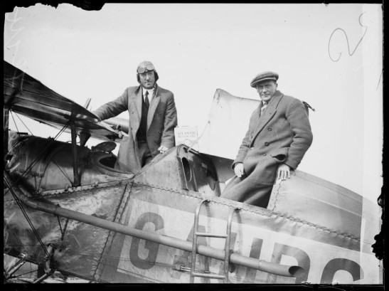Aviators Captain Gordan Wilson and Frank Buchan in their Bristol Tourer at Mascot, Sydney, 1928 from a Fairfax archive of glass plate negatives. Source: Trove
