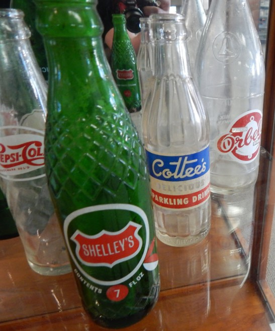 A selection of bottles from yesteryear. From left: Pepsi Cola, Shelley's, Cottee's, Orbell's. With the exception of multinational Pepsi, the other three were all Australian owned and produced. Shelley's was rebranded as Kirk's after being taken over by Coca-Cola Amatil. These bottles on loan courtesy Dad & Dave's Collectables http://www.facebook.com/dadanddave