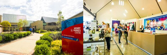 Two photographs of Parkes Visitor Information Centre. Located within the Henry Parkes Centre on the Newell Highway, the centre offers a range of souvenirs, regional produce and essential items. The friendly staff can assist you with all your tourism needs including a wide range of local information on accommodation, events and attractions, destination brochures and maps. Source: Visit Parkes website