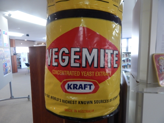 Photograph of jar of Vegemite inflatable. This item on loan courtesy of Dad & Dave's Collectables http://www.facebook.com/dadanddave