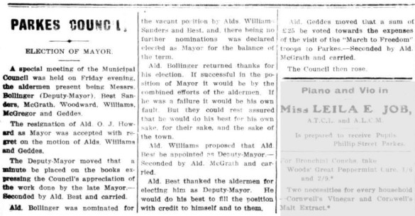 Bollinger was elected mayor at a special meeting of the Municipal Council due to Alderman O.J. Howard's resignation (Howard moved away from Parkes at this time) Source: Western Champion Thursday 11 July, 1918 page 4