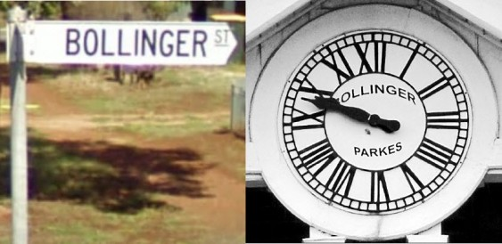 Bollinger Street sign and the clock that A G F Bollinger installed at the Post Office in 1895. Source: Street Sign from Google Maps, Clock face photograph from Parkes Champion Post Monday May 23, 2011 page 7