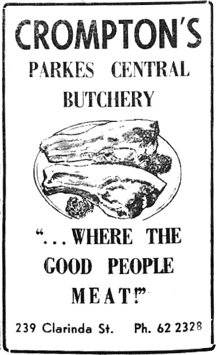 Local advertising can bring out the humour. Source: Parkes Champion Post Wednesday September 13, 1972 page 2